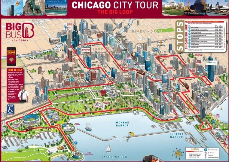 Mapa do asseio de ônibus turístico em Chicago - Big Bus