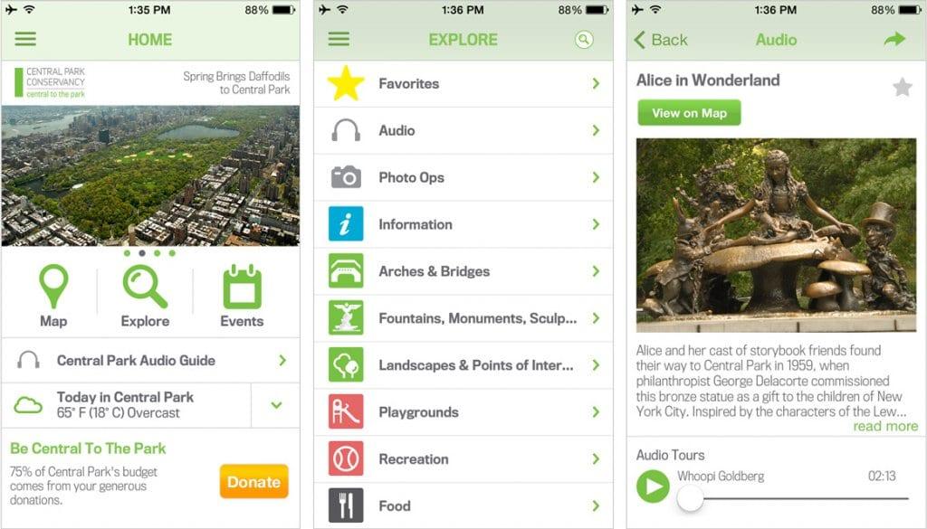 Aplicativo do Central Park para celular em Nova York