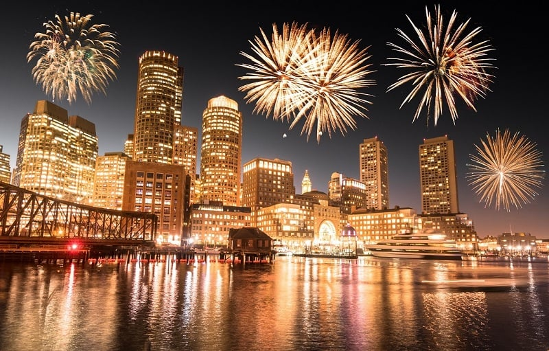 Waterfront no Ano Novo em Boston
