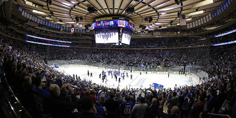 Hockey no gelo no Madison Square Garden em Nova York